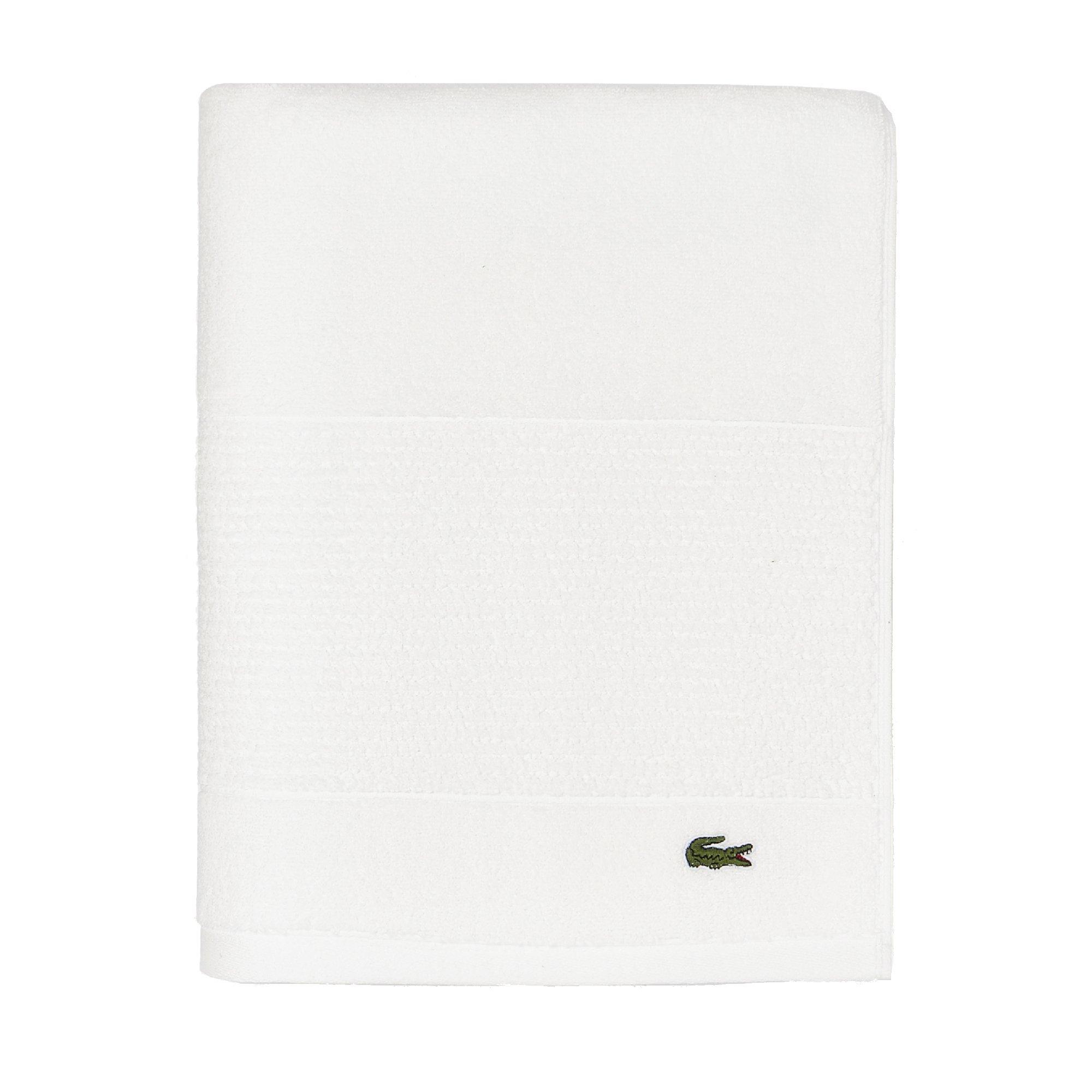 Lacoste Legend Towel, 100% Supima Cotton Loops, 650 GSM, 30''x54'' Bath, White