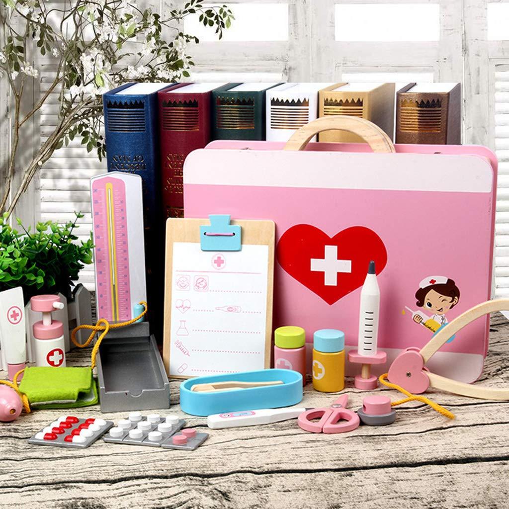 D DOLITY 15x Holz Kinder Arztkoffer Doktorkoffer Medizinkoffer für Arzt Rollenspiel