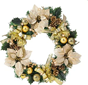 Pre-lit 22 inch Gold Christmas Wreath for Front Door with Lights, Spruce, Ribbon Bows, Pine Cones, Berries, Christmas Ball Ornaments and Flowers, Home Holiday Seasonal Decoration