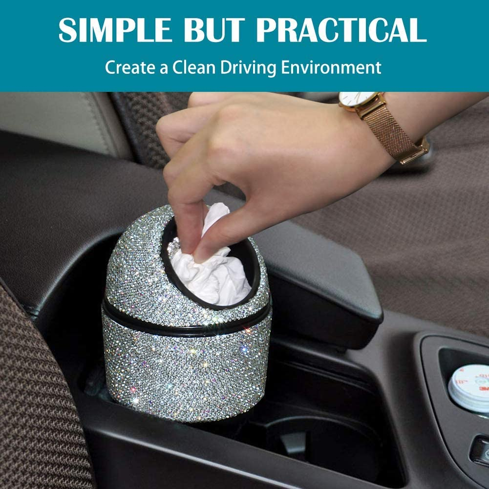 eing Car Cup Holder Garbage Can Bling Bling Crystal Auto Mini Trash Bin for Car Office Home Women,Black