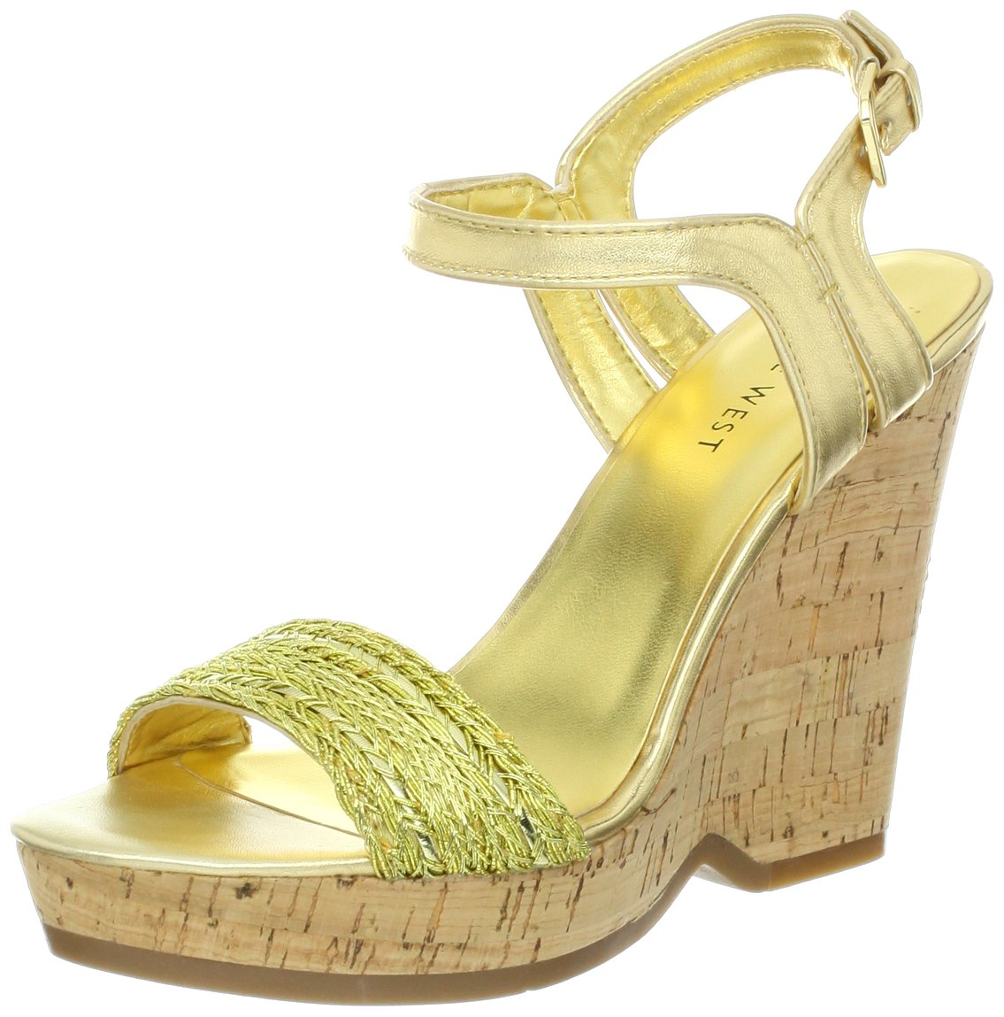 Nine West Women's Trickster Wedge Sandal B00ANZP890 9.5 B(M) US Gold/Gold Synthetic
