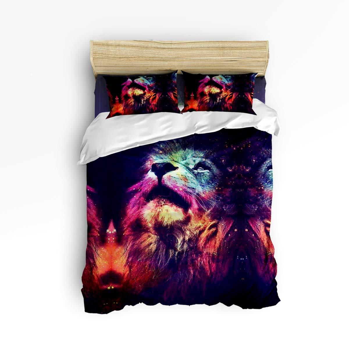 クイーンエリア寝具4点セット スーパーソフト 暖かい 高級 昼寝用ダウン生地 掛け布団カバーセット Gloom Lion Look Up Black Sky キング gml181122-queen-003SLXM01353SJTDQAA B07KS61BFS Lion431lqaa3663 キング