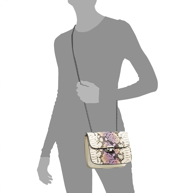 Osanna Bolso Bandolera Mujer.Piel aut/éntica Gamuza Estampado Serpiente Ruga .Made in Italy Color: Blanco Vera Pelle Italiana.18x7x14,5 cm FIRENZE ARTEGIANI