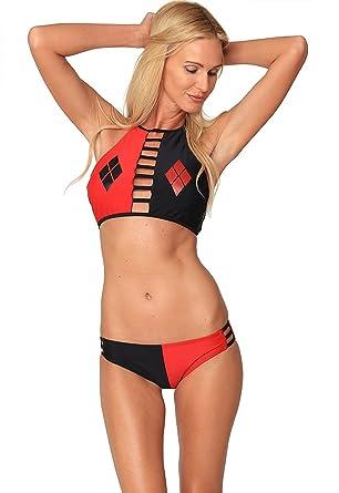 830f4139fc85 DC Comics Harley Queen High Neck Bikini Set Halter Bathing Suit Beach  Swimwear at Amazon Women's Clothing store:
