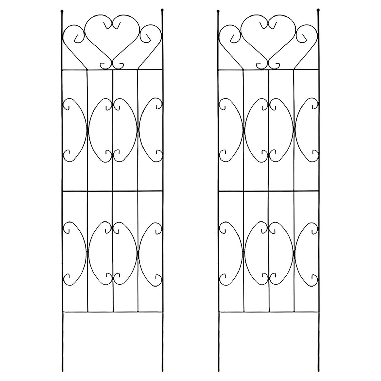 お庭をエレガントに彩るIBフェンス ハート 高さ220cm×幅50cm LLサイズ 4枚セット ブラック F606-220X2 B06XFYN3VV LLサイズ(220cm) (4枚セット)  LLサイズ(220cm) (4枚セット)