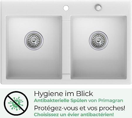 Blanc 1 bac avec siphon classique /évier de cuisine /Évier granit Primagran