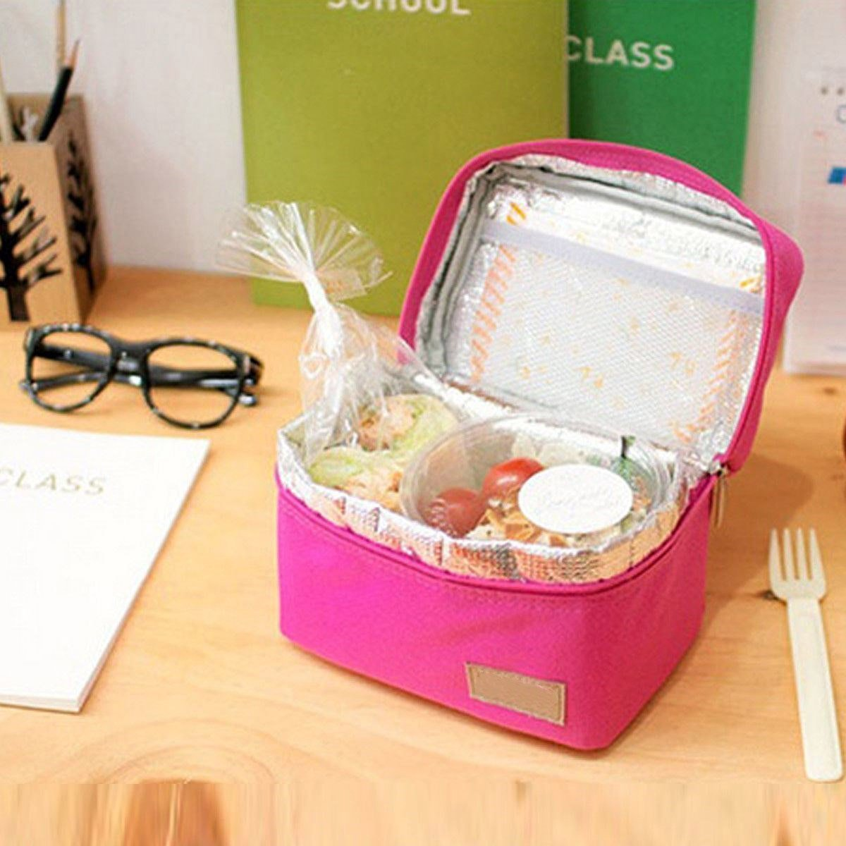 LAAT Thermal Insulation Lunch Pouch Picnic Box Portable Cooler Sacks Insulated Storage Container Picnic Tote Sacks Thicken Lunch Bag 5Coloors 778765
