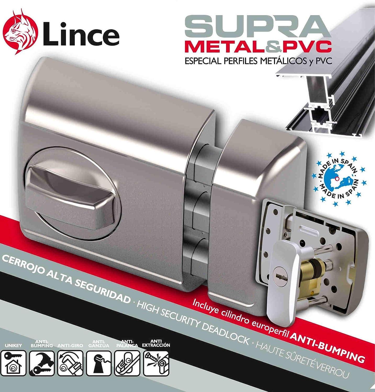Negro Lince Cerrojo Seguridad SOBREPONER Supra-Especial para Puertas de Aluminio y PVC