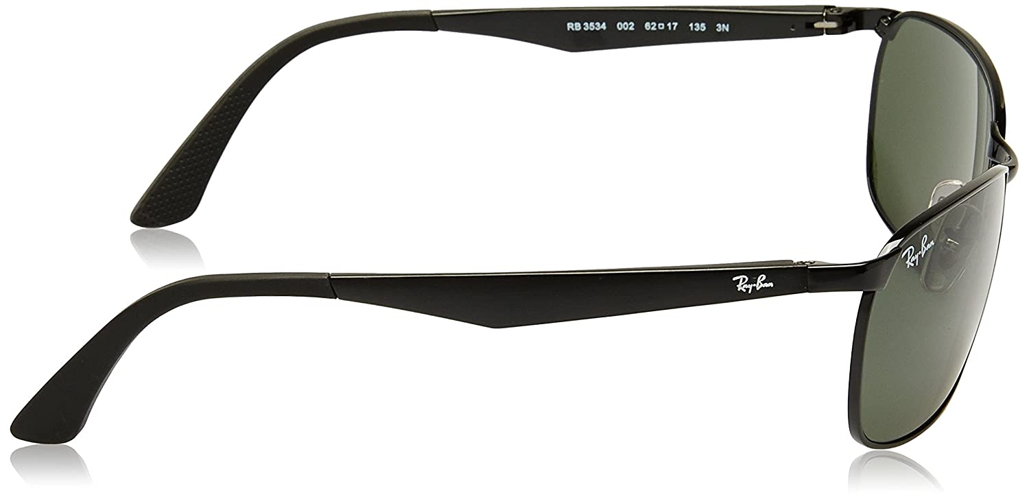 3a61c44c7aa Amazon.com  Ray-Ban METAL MAN SUNGLASS - BLACK Frame GREEN Lenses 62mm Non- Polarized  Clothing
