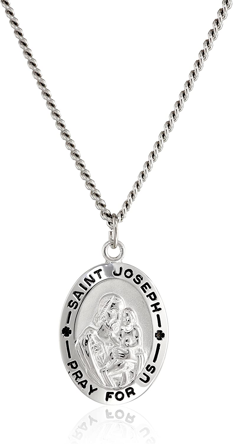 St Joseph The Worker Religious Round Medal Silver Tone Pendant with Rhinestones