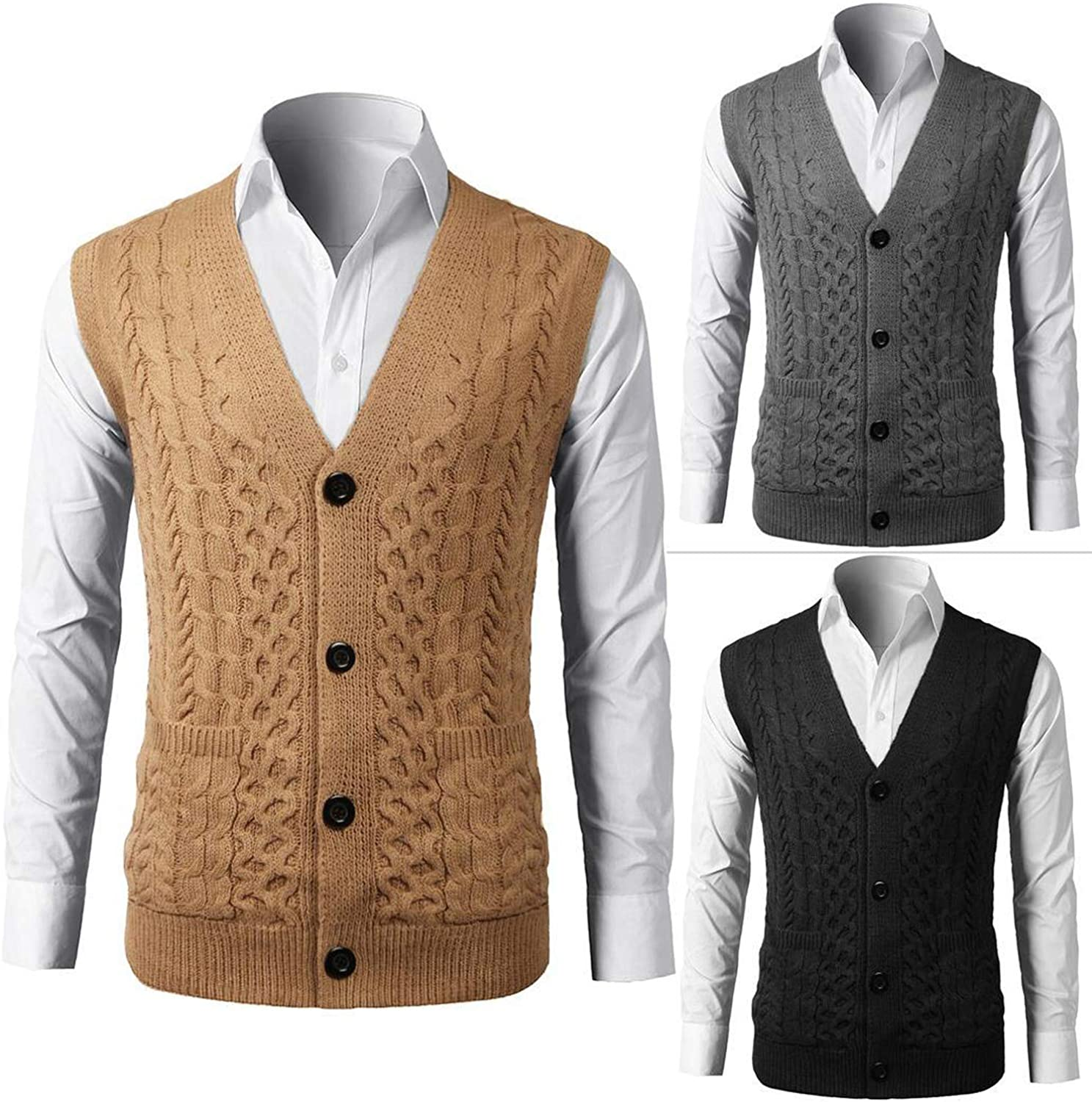 Mens V Neck Vest Knitwear Sweater Single Spring Autumn Breast Waistcoat Button Solid-in V