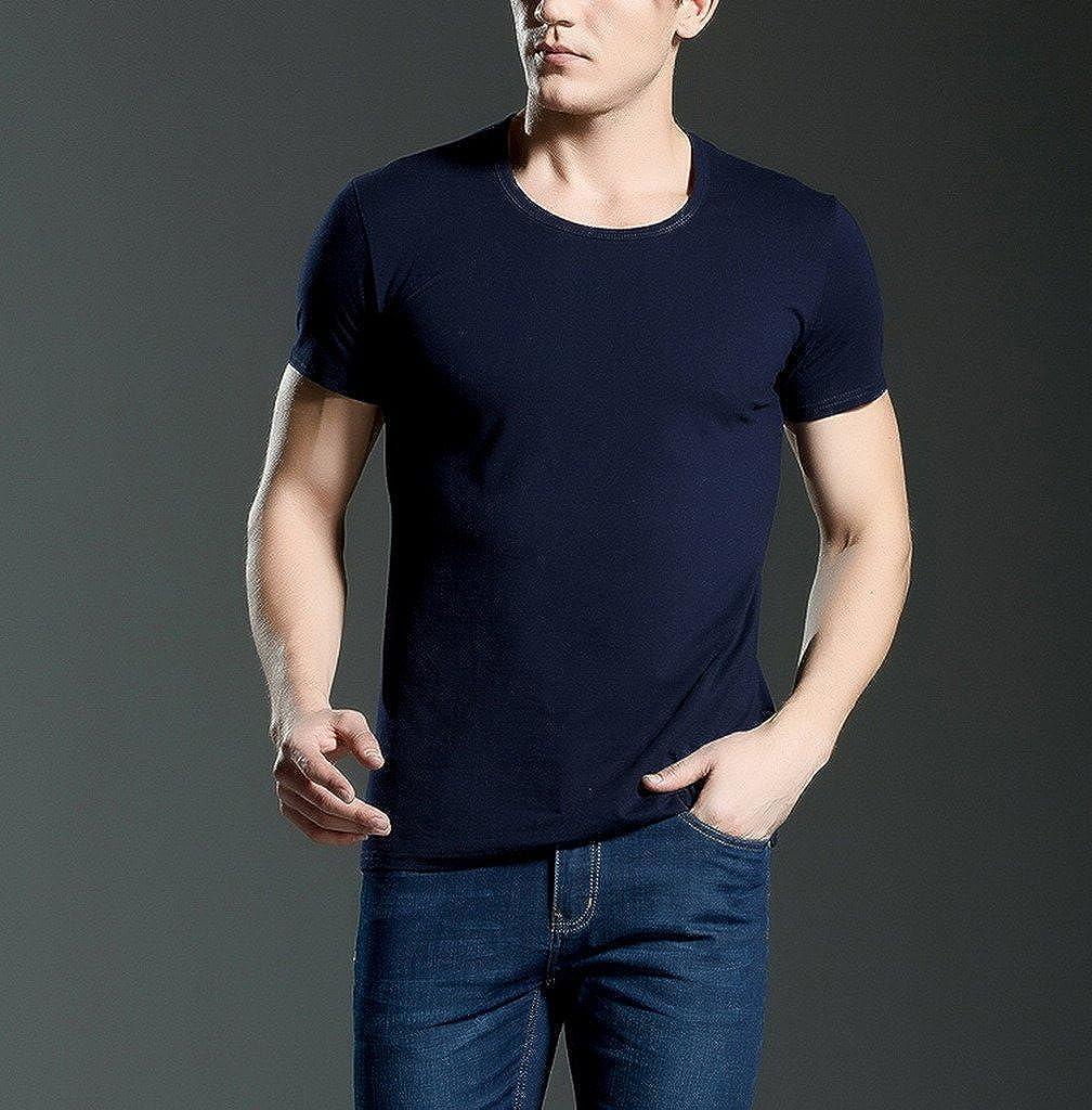 AOYOMO Mens V Neck Short Sleeve Slim Fit Basic T-Shirt Casual Cotton Tops