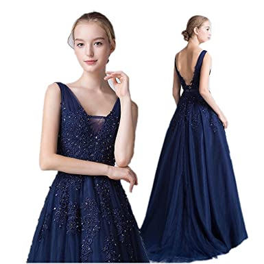 Navy Blue Pink Grey V Neck Long Lace Appliques Prom Dresses Unter 50 A Line Gray