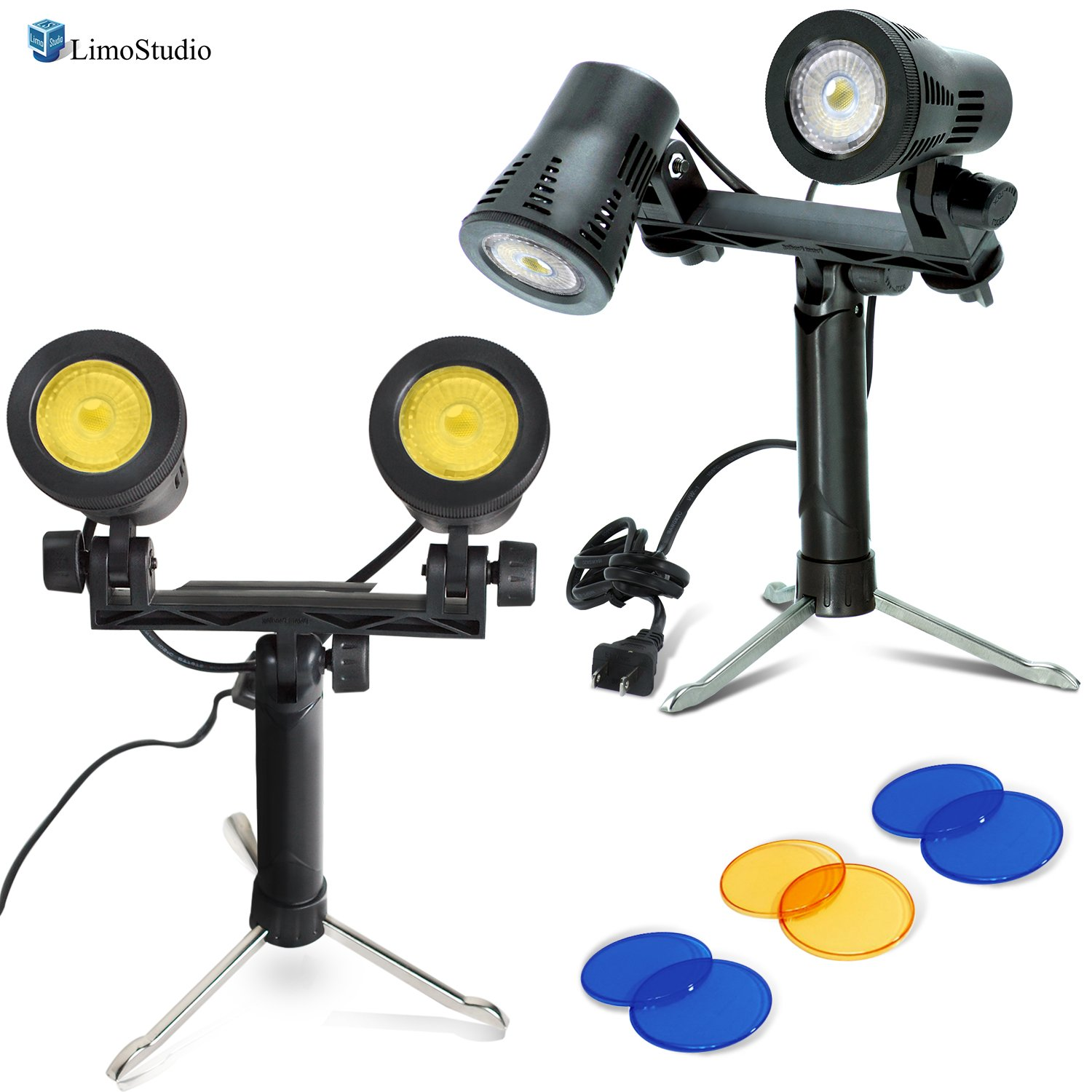 LimoStudio 2 sets Portable Continuous Double Head LED Light, Table Top Mini Lighting Kit with Blue and Yellow Color Gel Filters, Photography Video Studio Set, AGG2635