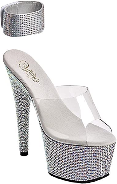 2afdc70d7d4 Pleaser Bejeweled-712RS Exotic Dancing Shoes. W Rhinestone 7 quot  Platform  Sandal.