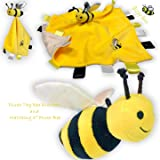 """Yelllow Baby Bee Plush Comfort Security Tag Taggy Blanket and 5"""" Plush Toy Stuffed Bee Baby Shower Gift"""