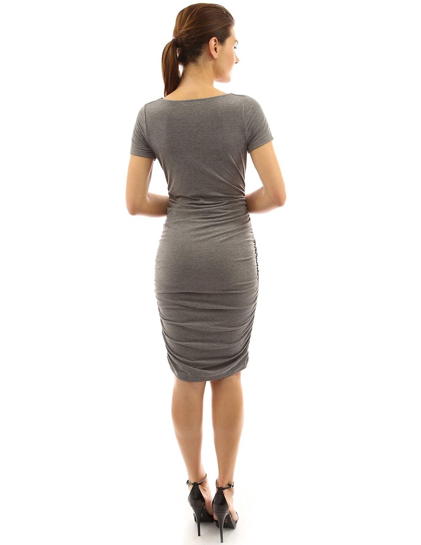 PattyBoutik Mama Cowl Neck Short Sleeve Maternity Dress