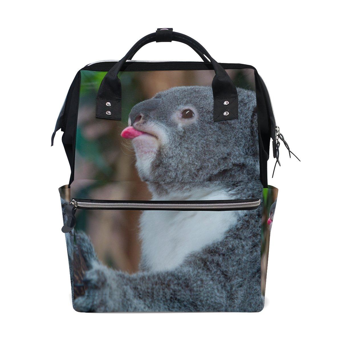 imobaby Funny Koala Bear Showing His Tongue Changing Bags Large Capacity Handbags Canvas Shoulder Bag Backpack