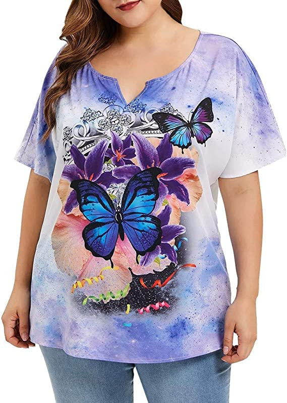 Witspace Women Tops Short Sleeve Plus Size Butterfly Print