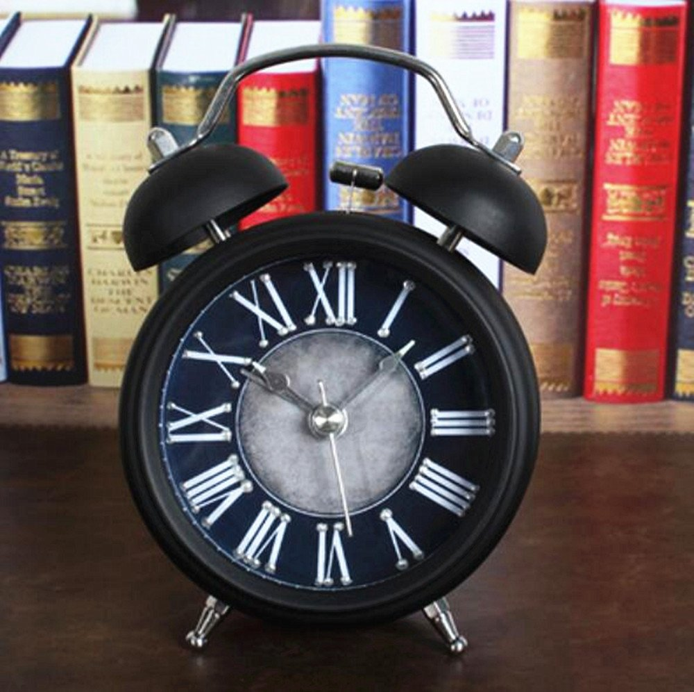 Usany Retro do The Old Metal Bell Alarm Clock Antique Creative sit Clock Table Clock Black