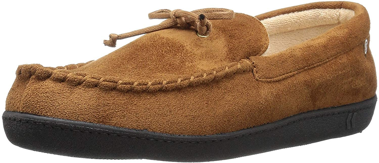 ISOTONER Men's Microsuede Moccasin Slipper with Cooling Memory Foam for Indoor/Outdoor Comfort