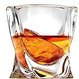 Twist Whiskey Glasses, Scotch Glasses by Ashcroft - Set of 2. Unique, Elegant, Dishwasher Safe, Glass Liquor or Bourbon Tumblers. Ultra-Clarity Glassware.