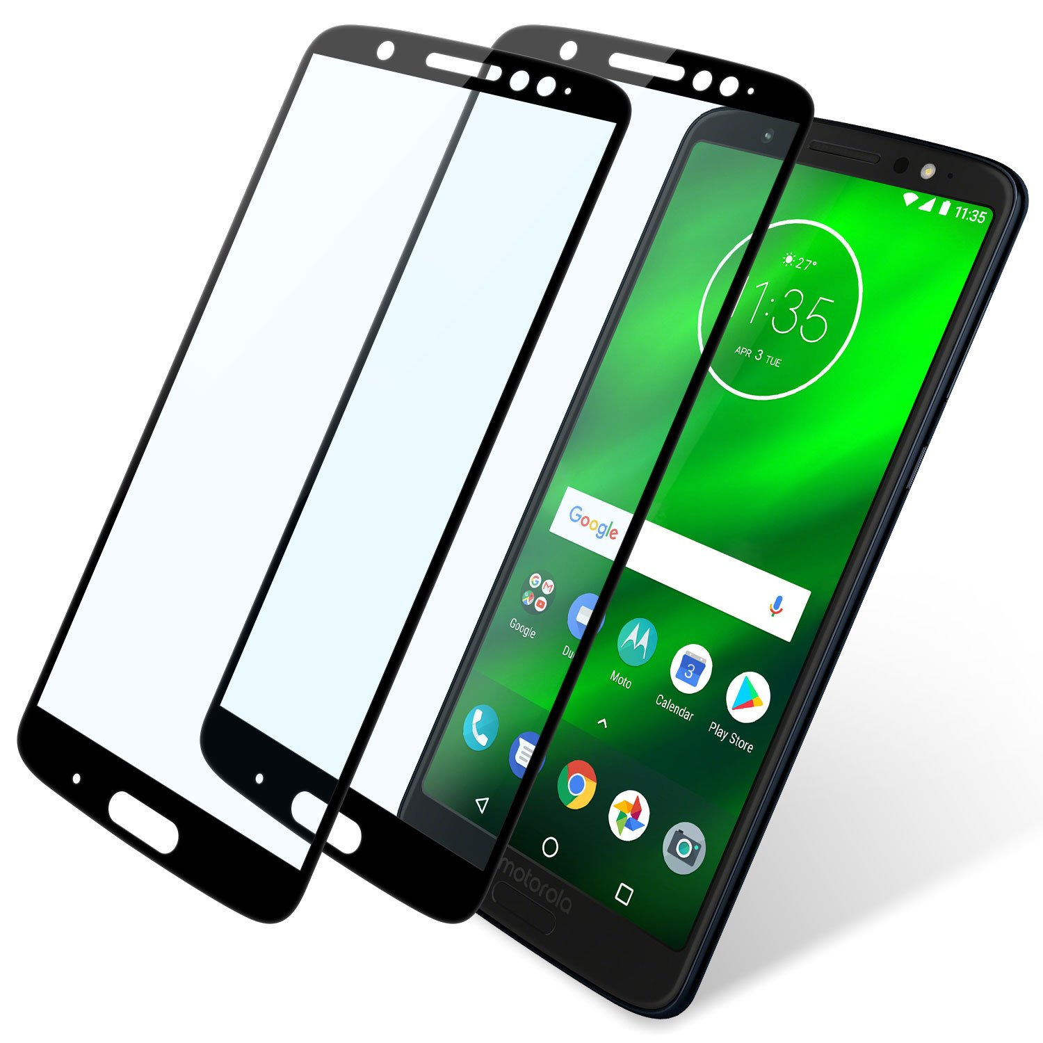 Moto G6 Plus Screen Protector Full Coverage, 2 Pack Niyattn Tempered Glass Screen Protector for Moto G6 Plus 5.9 inch with Double Shielding/Bubble Free/Case Friendly, Black high-quality