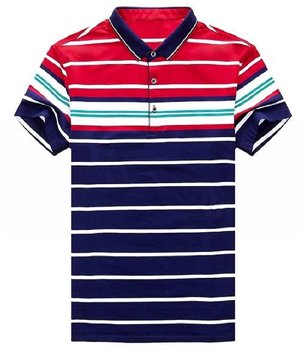 Tingwin Men Stripes Banded Collar Button Down Short Sleeve Casual Tunic Tops