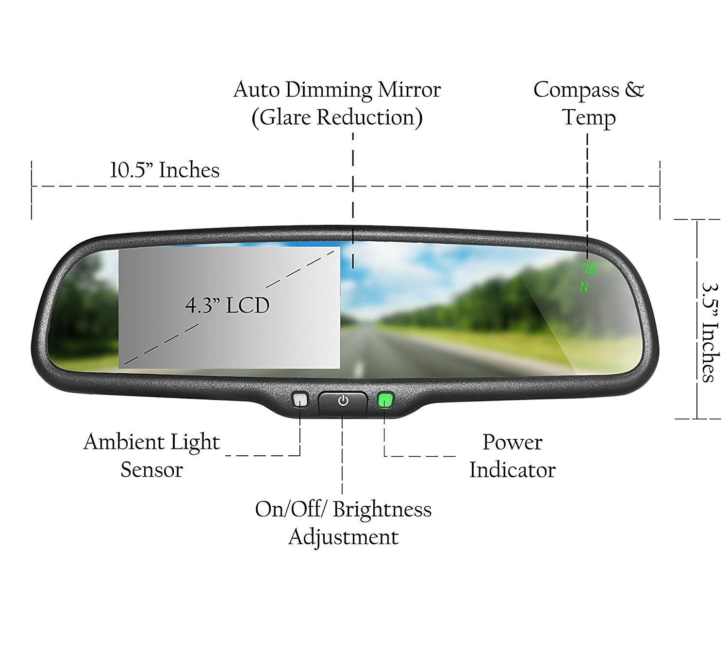 Auto Dimming Mirror Master Tailgaters OEM Rear View Mirror with Ultra Bright 4.3 Auto Adjusting Brightness LCD Universal Fit Compass /& Temperature Complete Replacement MR-43-A2DTC