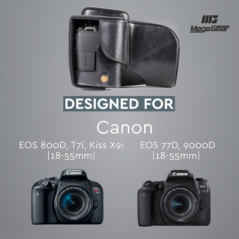 MegaGear Para Canon EOS Rebel T7i 77D 18-55mm Kiss X9i 9000D Funda de Pronto Uso de Cuero aut/éntico Estuche Ever Ready con Correa