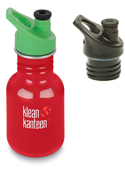 School Bus Klean Kanteen 12 oz Classic Single Wall Bottle with Sport Cap 3.0 Green and Sport Cap 3.0 Black