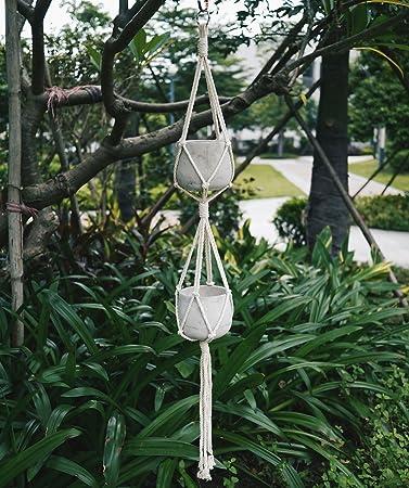 COCODE Plant Hanger Macrame Double Plant Hanger Rope Handmade Hanging Plant  Holders 4 Legs 38.5 Inch