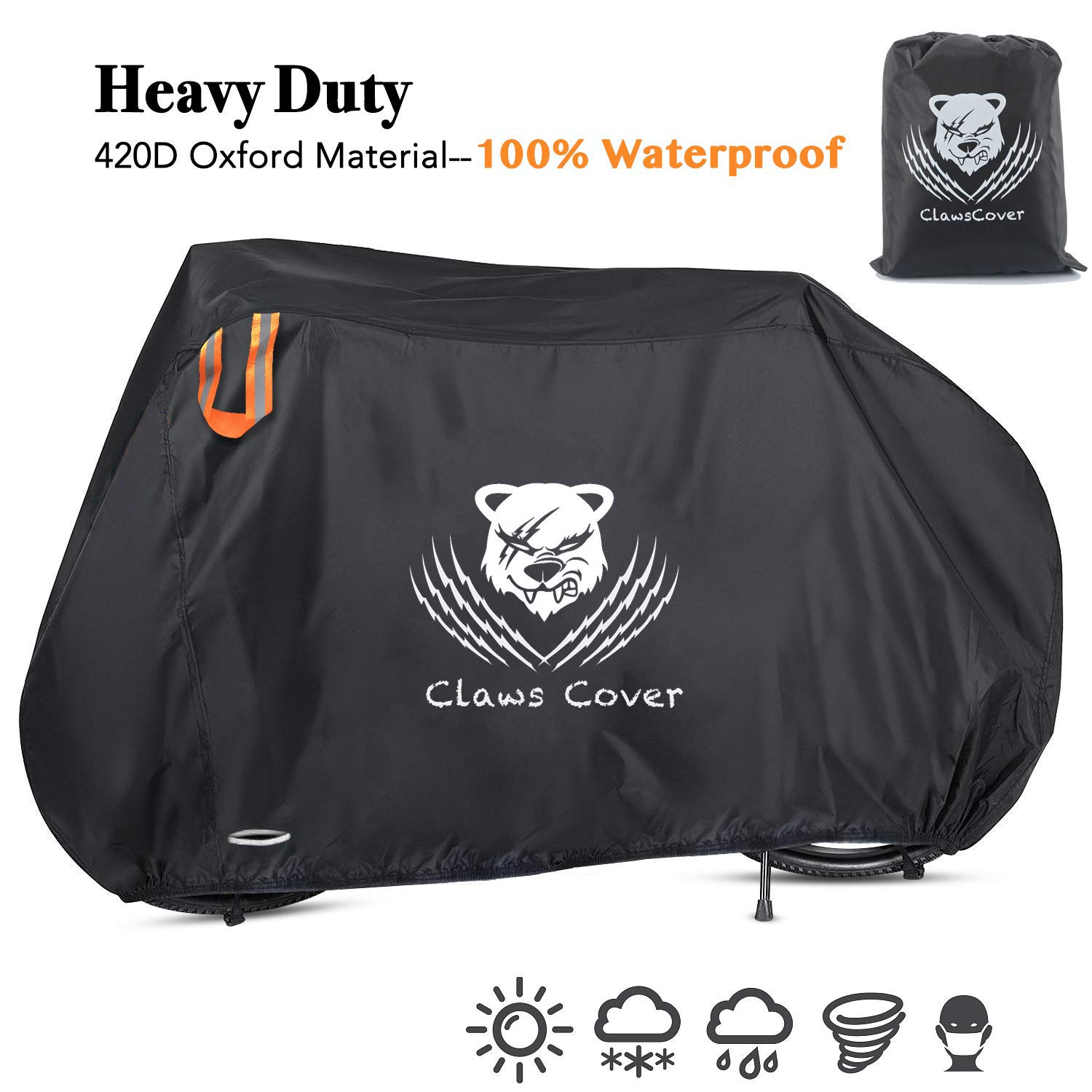 ClawsCover Bikes Covers Waterproof XXL 83'' Heavy Duty 420D Oxford Bicycles Cover Accessories with Lock Hole Outdoor All Weather for Mountain Road Electric Beach Cruiser Exercise Hybrid Tricycle Bike by ClawsCover