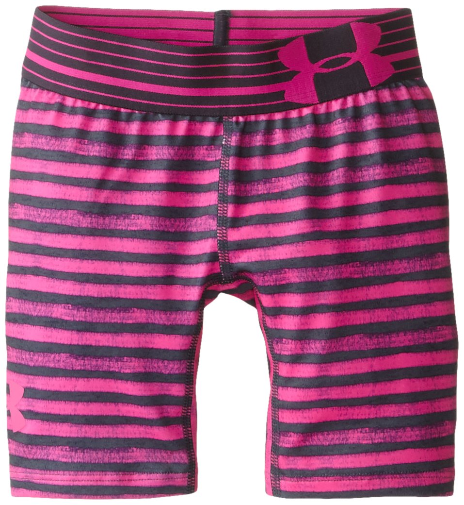 Under Armour Girls' HeatGear Armour Printed Short - 5'', Asphalt Heather /Rebel Pink, Youth Small by Under Armour