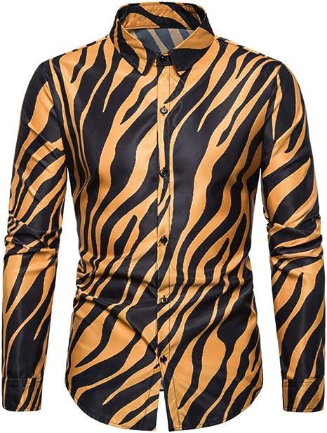 CHENS Camisa/Casual/Unisex/L Casual, Personalidad de la Moda, Estampado de Cebra, Cuello Cuadrado, botón de Fila, Camisa de Manga Larga para Hombre: Amazon.es: Deportes y aire libre