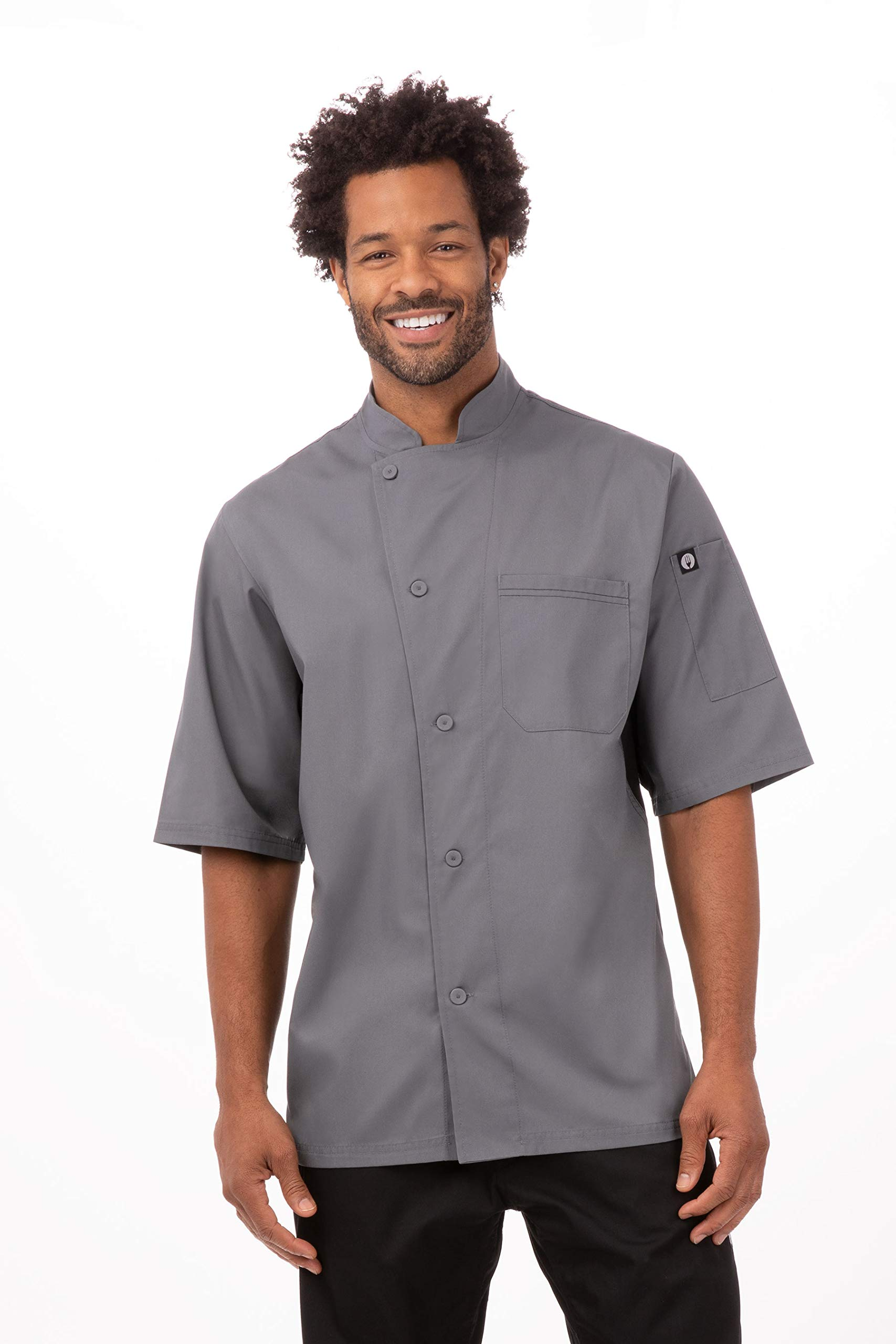 Chef Works Women's Valais V-Series Chef Coat, Dark Gray W/Black Contrast, 2X-Large by Chef Works