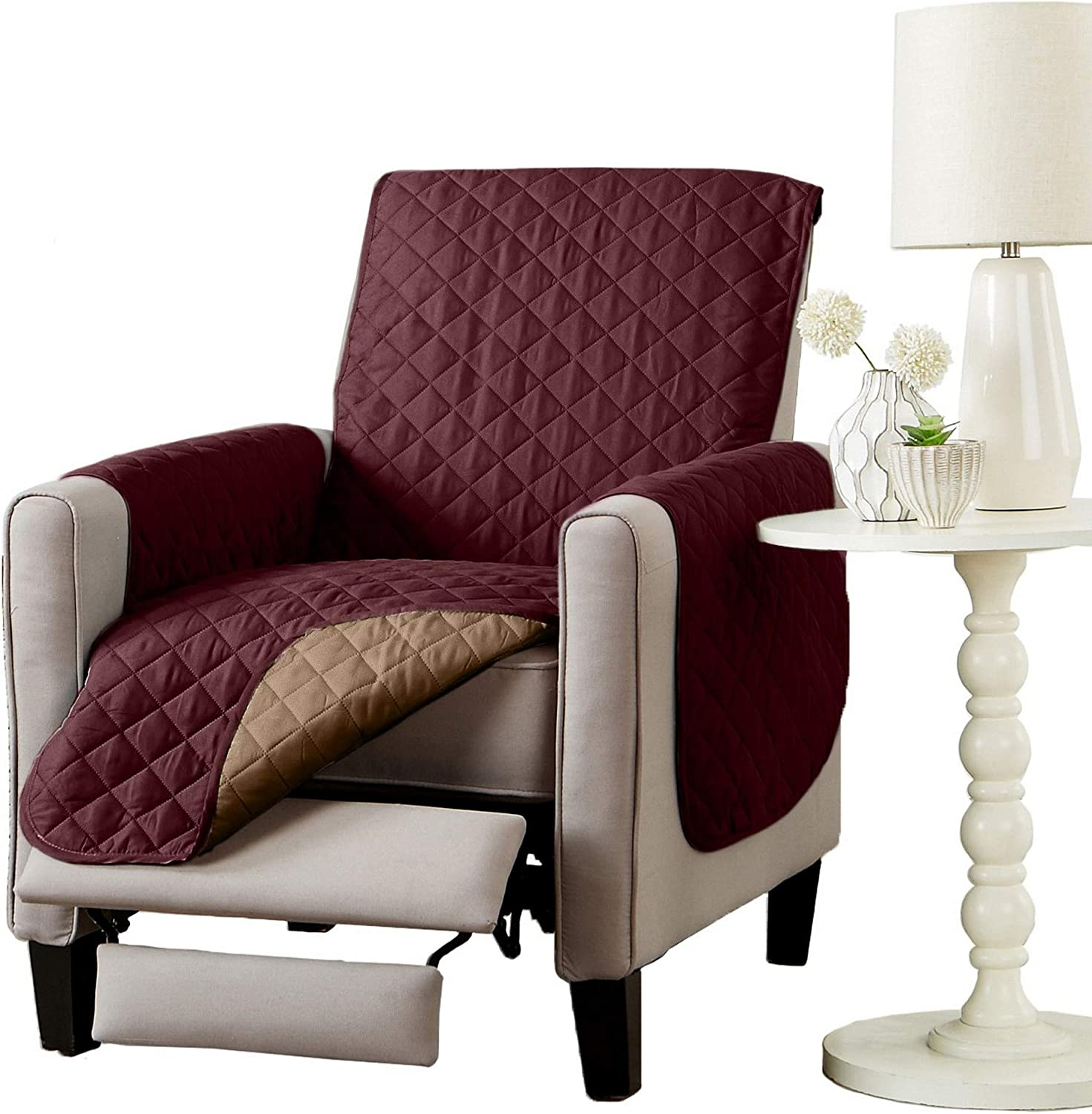 Great Bay Home Reversible Recliner Protector. Furniture Protector for Living Room with Secure Straps. Furniture Protectors for Kids, Dogs and Pets. Skylar Collection (Recliner, Burgundy/Taupe)