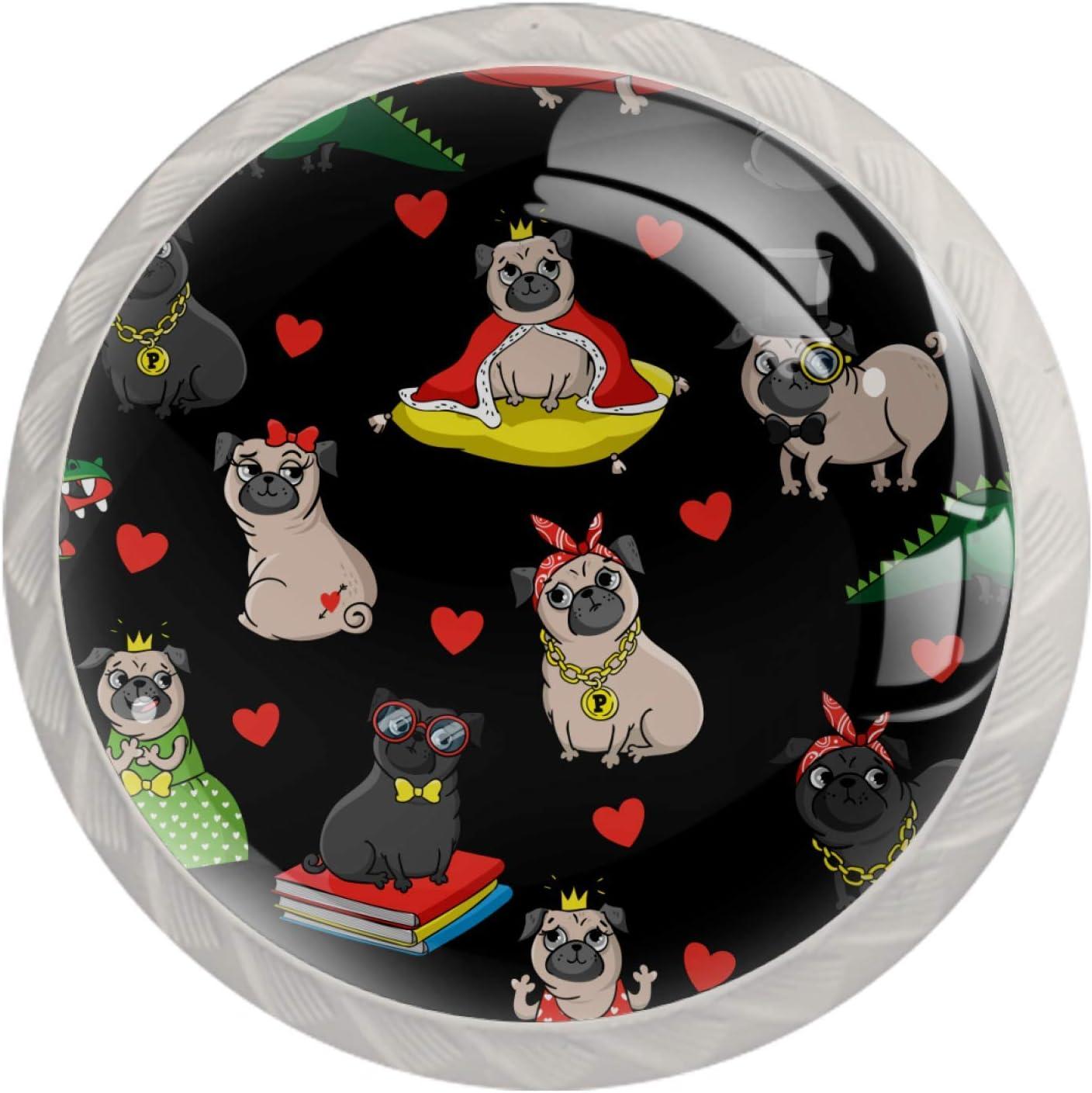 Perillas redondas para aparador (4 piezas) – Colorido diseño floral cajón manija de decoración del hogar perillas de tirones divertidos King Pug Puppy Dog Crown Heart