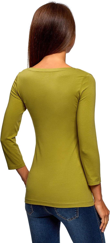 oodji Collection Donna T-Shirt Basic con Scollo a V Senza Etichetta