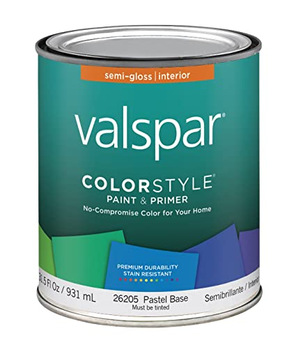 Valspar 44 26200 QT Brand 1 Quart White ColorStyle Interior Latex Semi  Gloss Enamel Paint