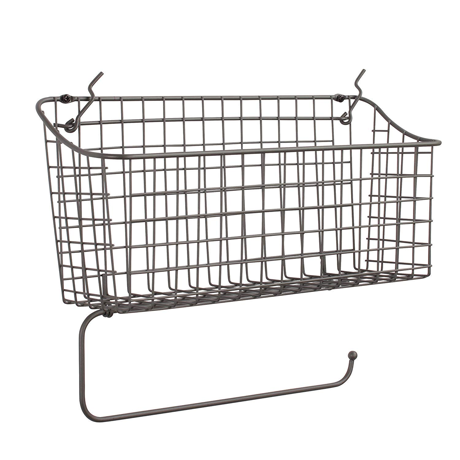 Spectrum Diversified Pegboard/Wall Mount Basket and Paper Towel Holder, Industrial Gray by Spectrum Diversified