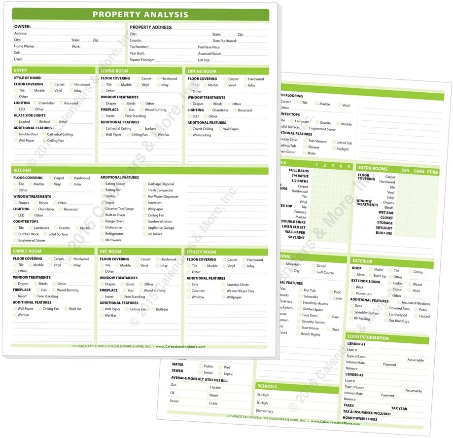 Real Estate Property Analysis Pad - A Complete Checklist of All The Features of Today's Residential Real Estate. Pad of 50 Sheets