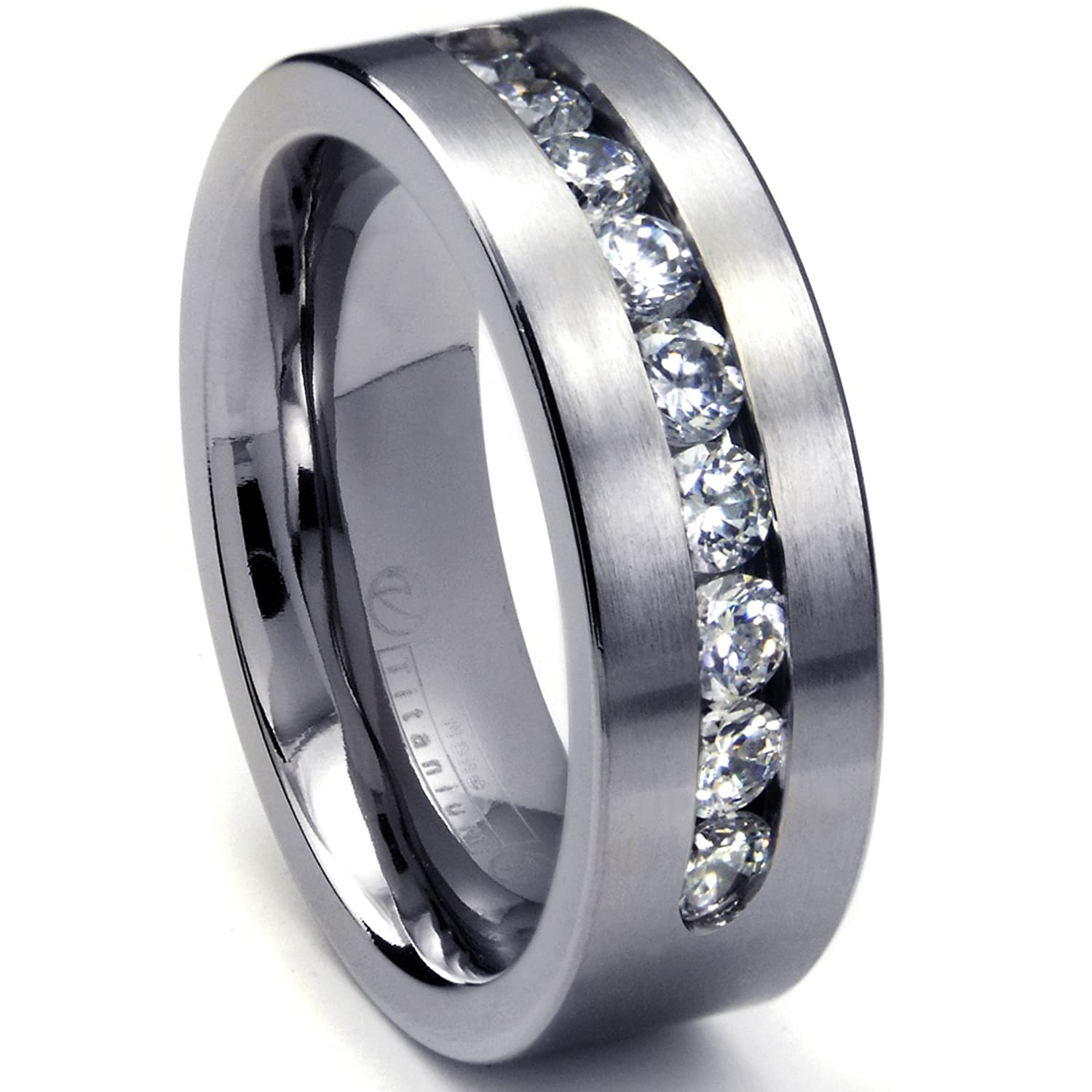 Amazoncom 8 MM Mens Titanium ring wedding band with 9 large