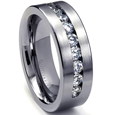 8 MM Mens Titanium Ring Wedding Band With 9 Large Channel Set CZ