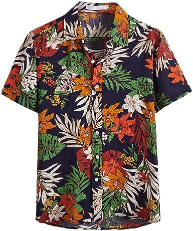 YEBIRAL Polos Manga Corta, Hombre Verano Hawaiana Floral ...