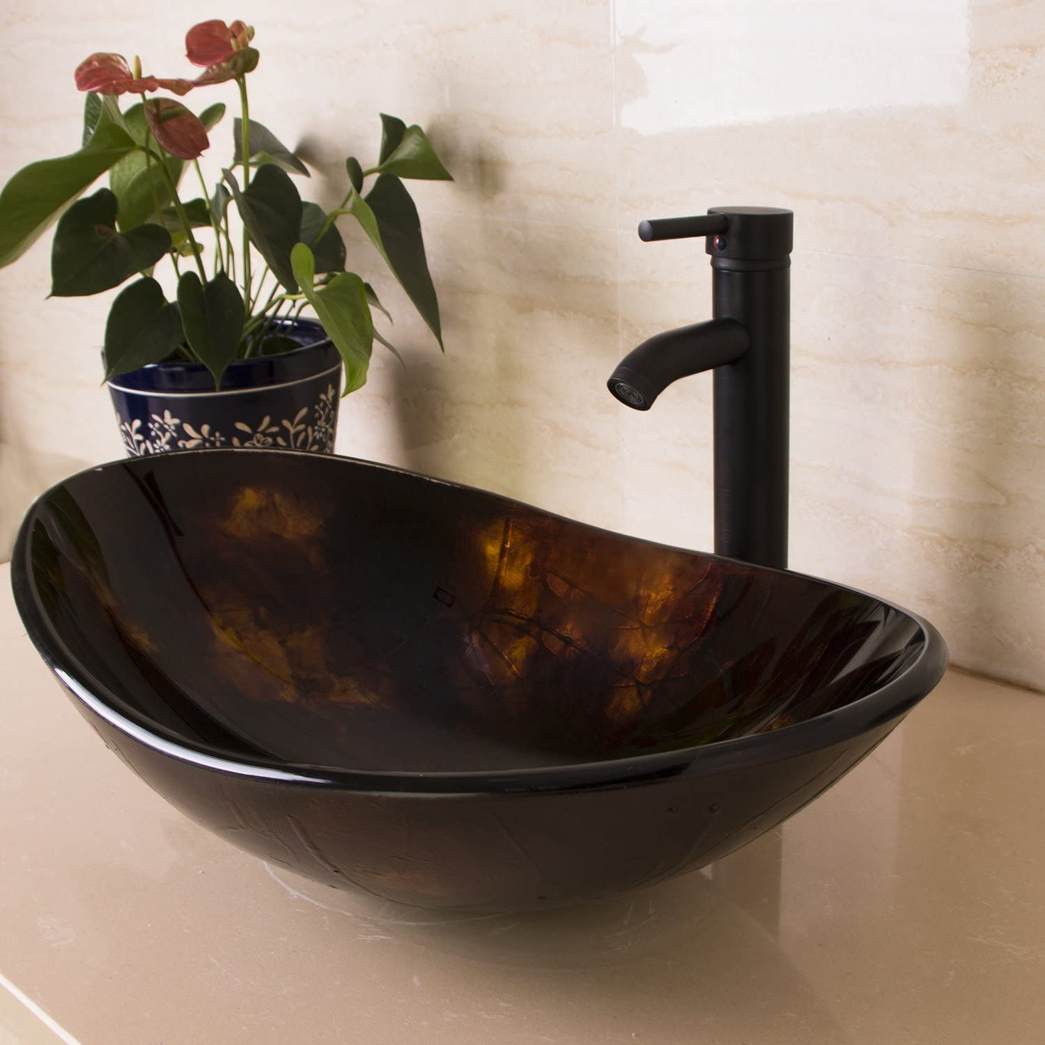 WALCUT USBR1038 Bathroom Modern Oval Artistic Glass Vessel Sink with Oil Rubbed Bronze Faucet And ORB Pop-Up Drain Combo, Black Golden Rose