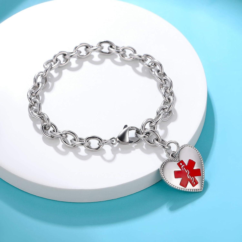 Adjustable Stainless/Steel/Heart-Shaped/Allergy Charm Bracelet Free Engraving Medical/Alert/ID Bracelet for Women Girls