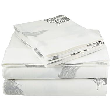Brielle Fashion 100% Cotton Jersey, King Sheet Set, Feathers