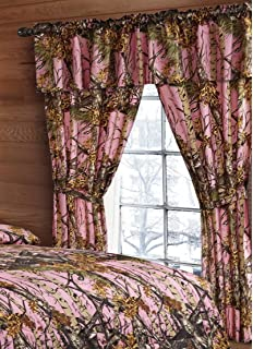20 Lakes Woodland Hunter Camo Valance, Panels, Tie Backs Curtain Drape Set Five Pieces