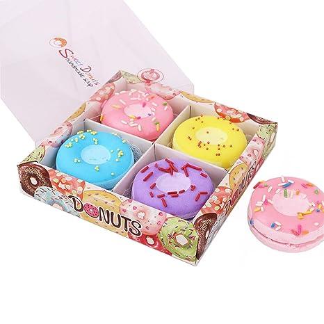 Set regalo Bombe da bagno ciambelle, Bombe da bagno a ciambella per fiori secchi 4PCS